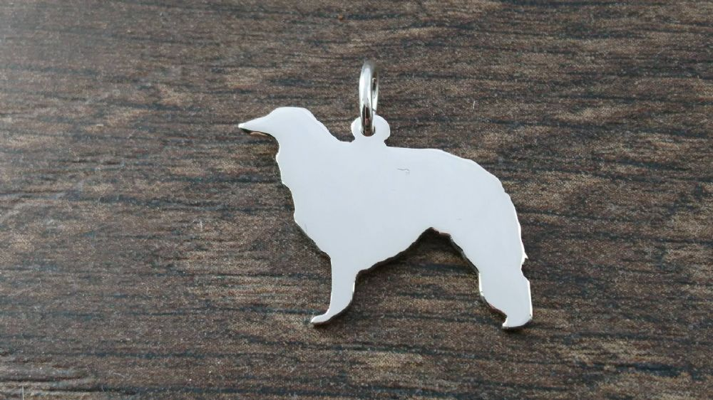 Borzoi dog silhouette solid sterling silver Handmade in the Uk
